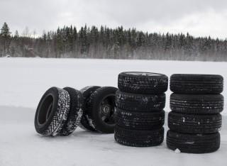 Tyres in Snowy Field
