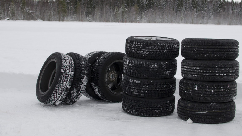 tyres in the snow
